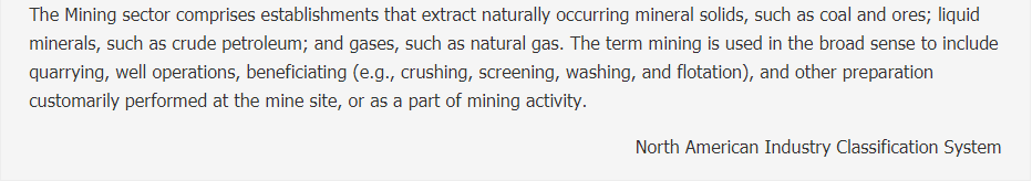 Mining, Quarrying, and Oil and Gas Extraction Description