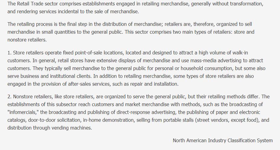 Retail Trade Description