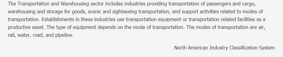 Transportation and Warehousing Description