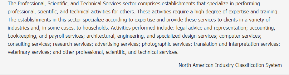 Professional, Scientific, and Technical Services Description