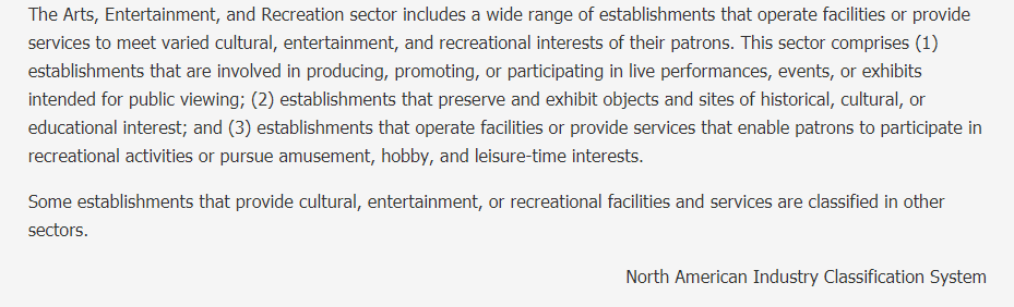 Arts, Entertainment, and Recreation Description